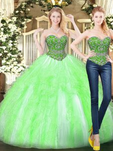 Beauteous Yellow Green Ball Gowns Sweetheart Sleeveless Tulle Floor Length Lace Up Beading and Ruffles Sweet 16 Quinceanera Dress