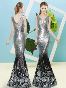 Silver Sleeveless Floor Length Sequins Zipper Prom Dress