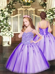 Lavender Sleeveless Tulle Lace Up Girls Pageant Dresses for Party and Quinceanera