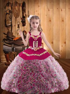 Multi-color Fabric With Rolling Flowers Zipper Straps Sleeveless Floor Length Little Girls Pageant Dress Embroidery and Ruffles