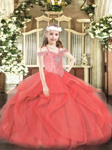 Gorgeous Sleeveless Tulle Floor Length Lace Up Little Girl Pageant Gowns in Coral Red with Beading and Ruffles