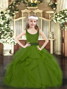 High Quality Scoop Sleeveless Zipper Kids Formal Wear Olive Green Tulle