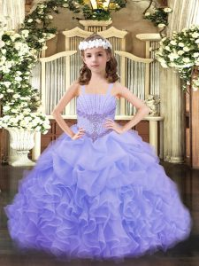 Exquisite Straps Sleeveless Organza Little Girls Pageant Gowns Beading and Ruffles and Pick Ups Lace Up