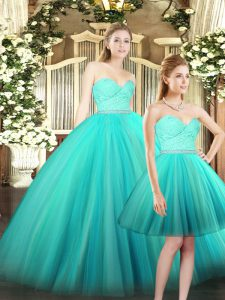 Aqua Blue Ball Gowns Sweetheart Sleeveless Tulle Floor Length Lace Up Ruching 15th Birthday Dress