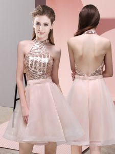 Edgy Mini Length Backless Damas Dress Baby Pink for Prom and Party and Wedding Party with Sequins