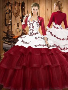 Best Selling Burgundy Sleeveless Sweep Train Embroidery and Ruffled Layers Quinceanera Gown with Jacket