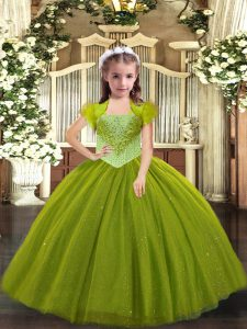Simple Floor Length Lace Up Little Girls Pageant Gowns Olive Green for Sweet 16 and Quinceanera with Beading