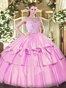 Customized Lilac Tulle Zipper Ball Gown Prom Dress Sleeveless Floor Length Beading and Ruffled Layers