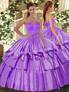 Extravagant Lilac Sleeveless Beading and Ruffled Layers Floor Length Quinceanera Dress