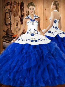 Lovely Satin and Organza Halter Top Sleeveless Lace Up Embroidery and Ruffles Sweet 16 Dress in Blue And White