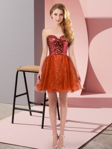 Glittering Red A-line Sequins Homecoming Dress Zipper Tulle Sleeveless Mini Length