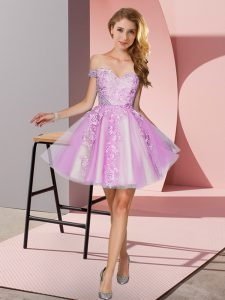 Custom Fit Lilac A-line Appliques Court Dresses for Sweet 16 Zipper Tulle Sleeveless Mini Length