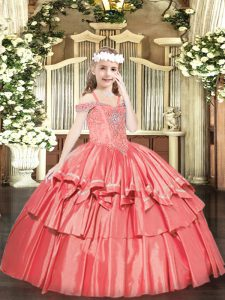 Coral Red Ball Gowns Organza Off The Shoulder Sleeveless Beading and Ruffled Layers Floor Length Lace Up Pageant Gowns For Girls