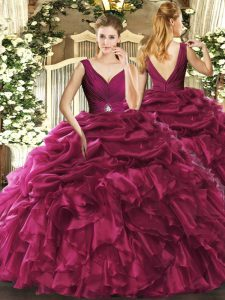 Eye-catching Burgundy Sleeveless Organza Backless Quinceanera Gown for Sweet 16 and Quinceanera