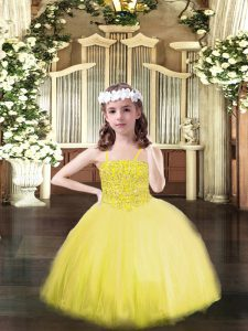 Excellent Yellow Spaghetti Straps Neckline Beading Evening Gowns Sleeveless Lace Up