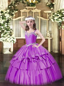 Sleeveless Beading and Ruffled Layers Lace Up Winning Pageant Gowns