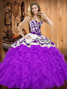 Cheap Sweetheart Sleeveless Sweet 16 Quinceanera Dress Floor Length Embroidery and Ruffles Purple Tulle