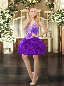 Unique Sleeveless Beading and Ruffles and Pick Ups Lace Up Dress for Prom