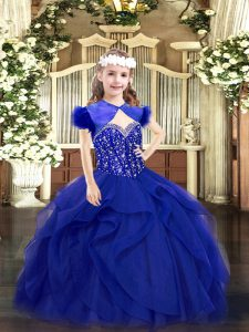Royal Blue Tulle Lace Up Straps Sleeveless Floor Length Little Girl Pageant Gowns Beading and Ruffles