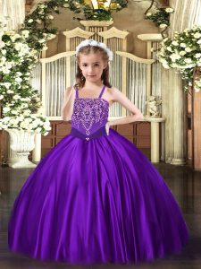 Best Floor Length Purple Little Girls Pageant Dress Wholesale Straps Sleeveless Lace Up