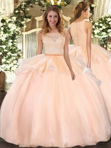 Organza Sleeveless Floor Length Quinceanera Gown and Lace