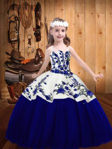 Royal Blue Sleeveless Tulle Lace Up Little Girls Pageant Gowns for Sweet 16 and Quinceanera