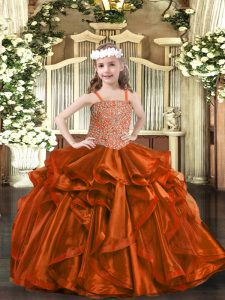Beautiful Floor Length Rust Red Little Girl Pageant Gowns Straps Sleeveless Lace Up