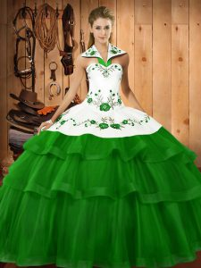 Modern Green Organza Lace Up Quinceanera Gowns Sleeveless Sweep Train Embroidery and Ruffled Layers