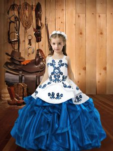 Blue Sleeveless Embroidery and Ruffles Floor Length Pageant Dress Wholesale