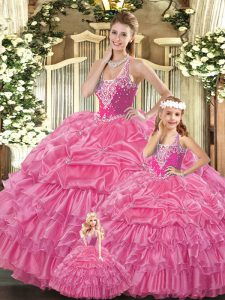 Rose Pink Straps Neckline Ruffles and Pick Ups 15 Quinceanera Dress Sleeveless Lace Up
