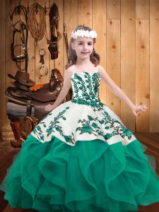 Amazing Sleeveless Organza Lace Up Little Girls Pageant Dress in Turquoise with Embroidery and Ruffles