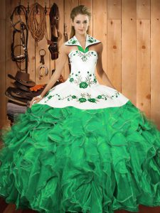 Classical Halter Top Sleeveless Lace Up Quinceanera Gowns Turquoise Satin and Organza