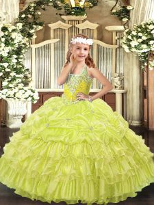 Latest Organza V-neck Sleeveless Lace Up Beading and Ruffled Layers and Pick Ups Pageant Dress Toddler in Yellow Green