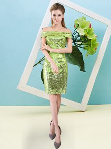 Perfect Off The Shoulder Short Sleeves Zipper Prom Party Dress Yellow Green Sequined