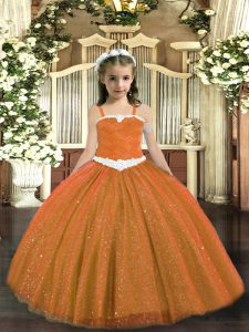Rust Red Sleeveless Floor Length Appliques Lace Up Pageant Dress Wholesale
