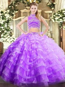 Glittering High-neck Sleeveless Backless Sweet 16 Dresses Lavender Tulle