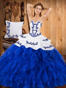 Gorgeous Sleeveless Lace Up Floor Length Embroidery and Ruffles Sweet 16 Dresses