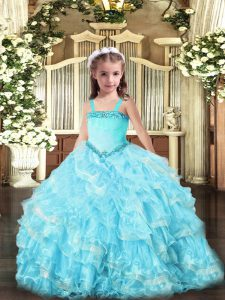 Straps Sleeveless Lace Up Kids Pageant Dress Light Blue Organza