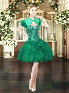 Free and Easy Mini Length Lace Up Dark Green for Prom and Party with Beading and Ruffles