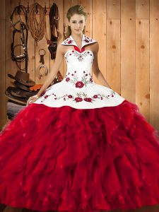 Ball Gowns Quinceanera Dresses Red Halter Top Satin and Organza Sleeveless Floor Length Lace Up