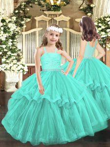 Turquoise Zipper Kids Formal Wear Beading and Lace Sleeveless Floor Length