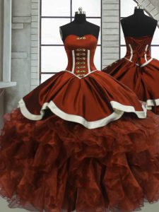 Floor Length Lace Up 15 Quinceanera Dress Rust Red for Sweet 16 and Quinceanera with Beading and Ruffles