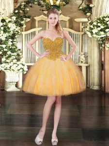Sweetheart Sleeveless Lace Up Prom Gown Orange Tulle