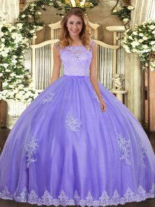 Adorable Lavender Clasp Handle Scoop Lace and Appliques Quinceanera Dress Tulle Sleeveless
