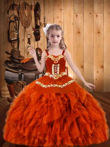 Popular Orange Red Organza Lace Up Pageant Dress Toddler Sleeveless Floor Length Embroidery and Ruffles