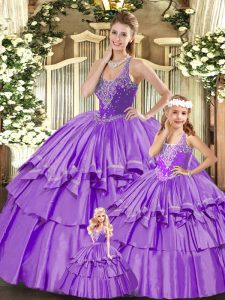 Glittering Lilac Ball Gowns Organza Straps Sleeveless Beading and Ruffled Layers Floor Length Lace Up Sweet 16 Dress