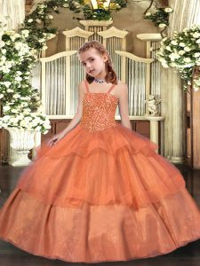Orange Ball Gowns Straps Sleeveless Organza Floor Length Lace Up Beading and Ruffled Layers High School Pageant Dress