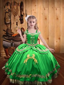 Ball Gowns Beading and Embroidery Little Girls Pageant Gowns Lace Up Satin Sleeveless Floor Length