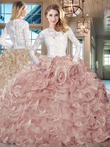 Beauteous Long Sleeves Beading and Ruffles Lace Up Sweet 16 Dress with Champagne Brush Train