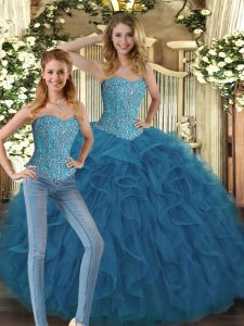 Custom Fit Teal Ball Gowns Sweetheart Sleeveless Tulle Floor Length Lace Up Beading and Ruffles Sweet 16 Dresses